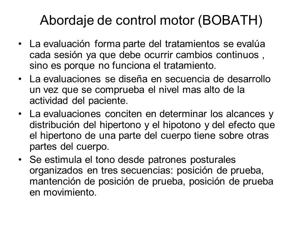 Abordaje de control motor (BOBATH) La evaluación forma parte del tratamientos se evalúa cada sesión ya que debe ocurrir cambios continuos, sino es por