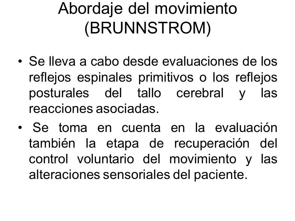 Abordaje del movimiento (BRUNNSTROM) Se lleva a cabo desde evaluaciones de los reflejos espinales primitivos o los reflejos posturales del tallo cereb