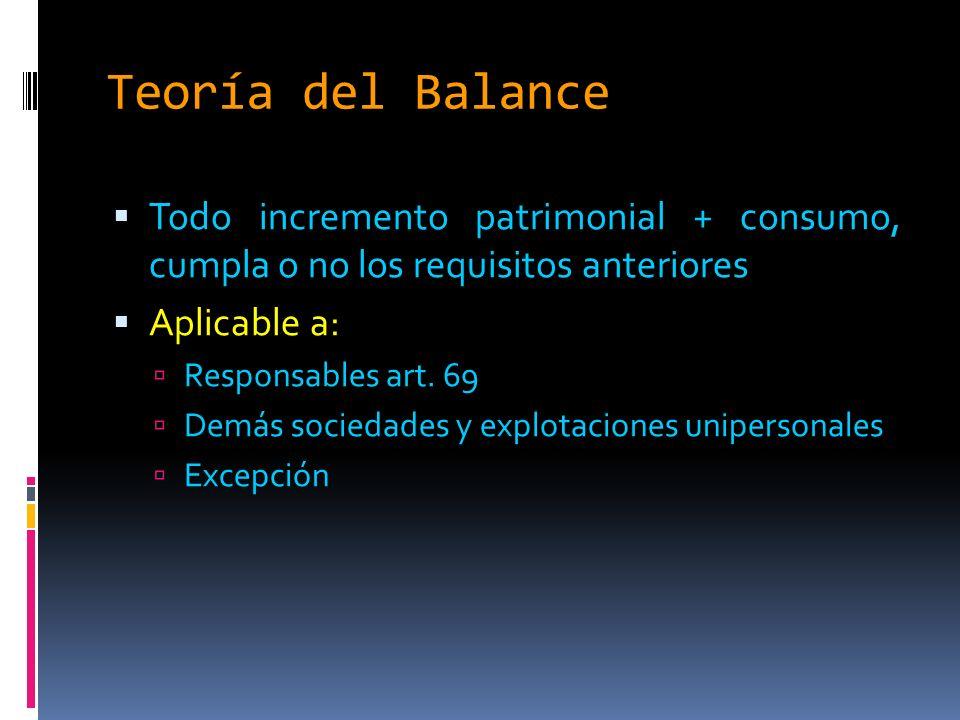 Teoría del Balance Todo incremento patrimonial + consumo, cumpla o no los requisitos anteriores Aplicable a: Responsables art.