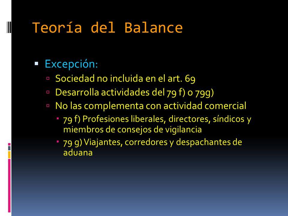 Teoría del Balance Excepción: Sociedad no incluida en el art.