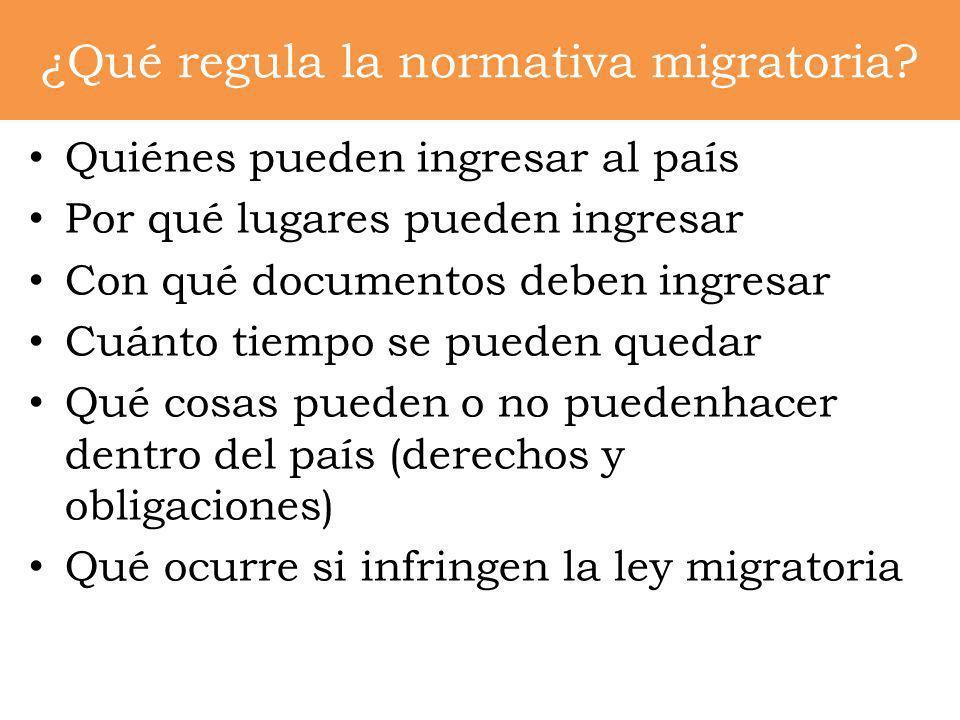 ¿Qué regula la normativa migratoria? Quiénes pueden ingresar al país Por qué lugares pueden ingresar Con qué documentos deben ingresar Cuánto tiempo s