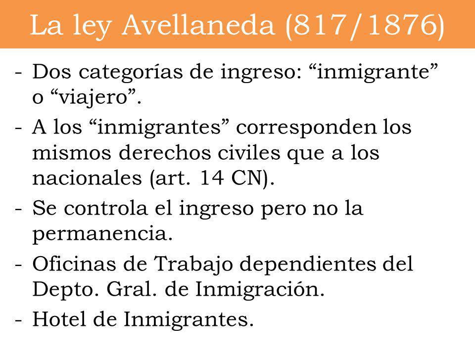 -Dos categorías de ingreso: inmigrante o viajero. -A los inmigrantes corresponden los mismos derechos civiles que a los nacionales (art. 14 CN). -Se c