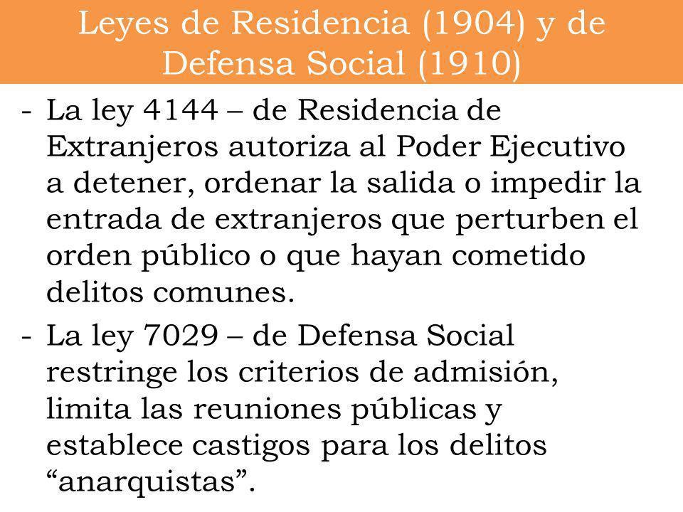 -La ley 4144 – de Residencia de Extranjeros autoriza al Poder Ejecutivo a detener, ordenar la salida o impedir la entrada de extranjeros que perturben