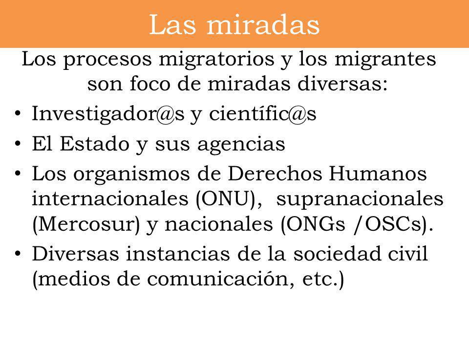 Los procesos migratorios y los migrantes son foco de miradas diversas: Investigador@s y científic@s El Estado y sus agencias Los organismos de Derecho