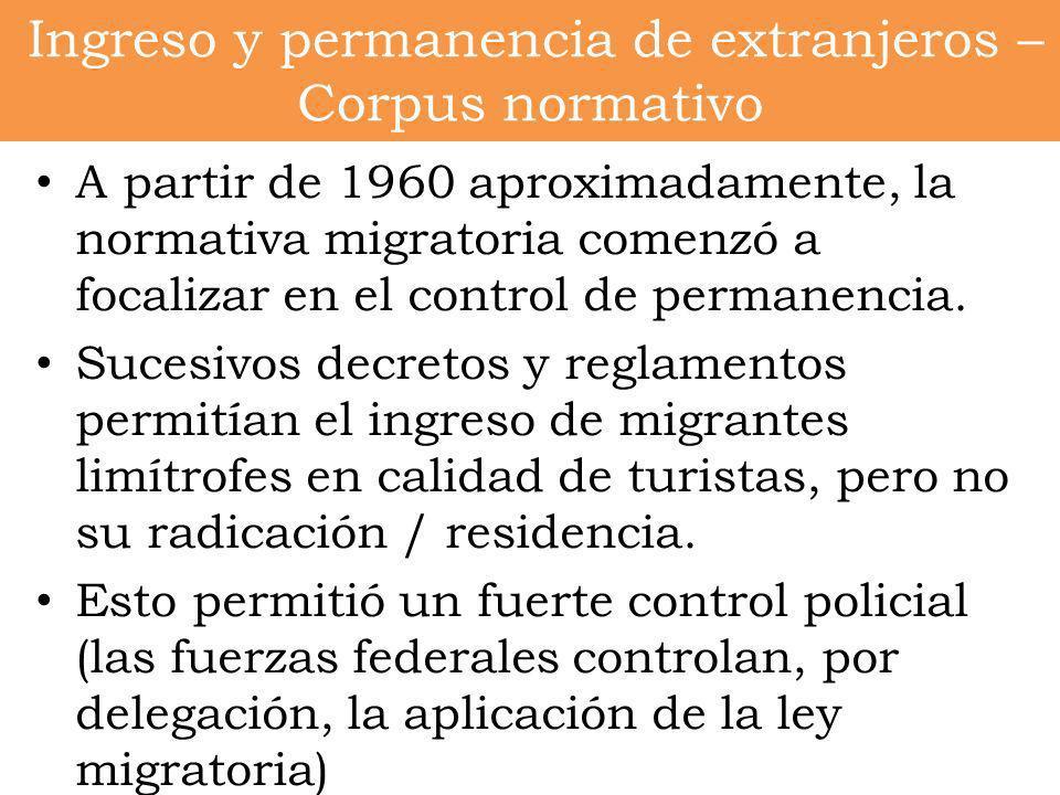 Ingreso y permanencia de extranjeros – Corpus normativo A partir de 1960 aproximadamente, la normativa migratoria comenzó a focalizar en el control de