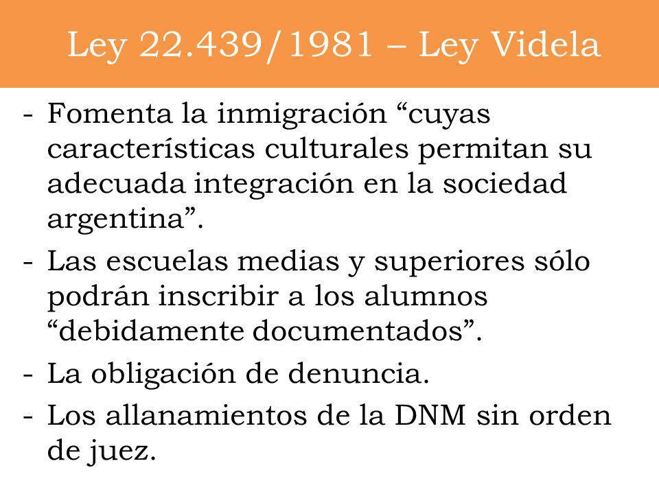 Ley 22.439/1981 – Ley Videla -Fomenta la inmigración cuyas características culturales permitan su adecuada integración en la sociedad argentina. -Las