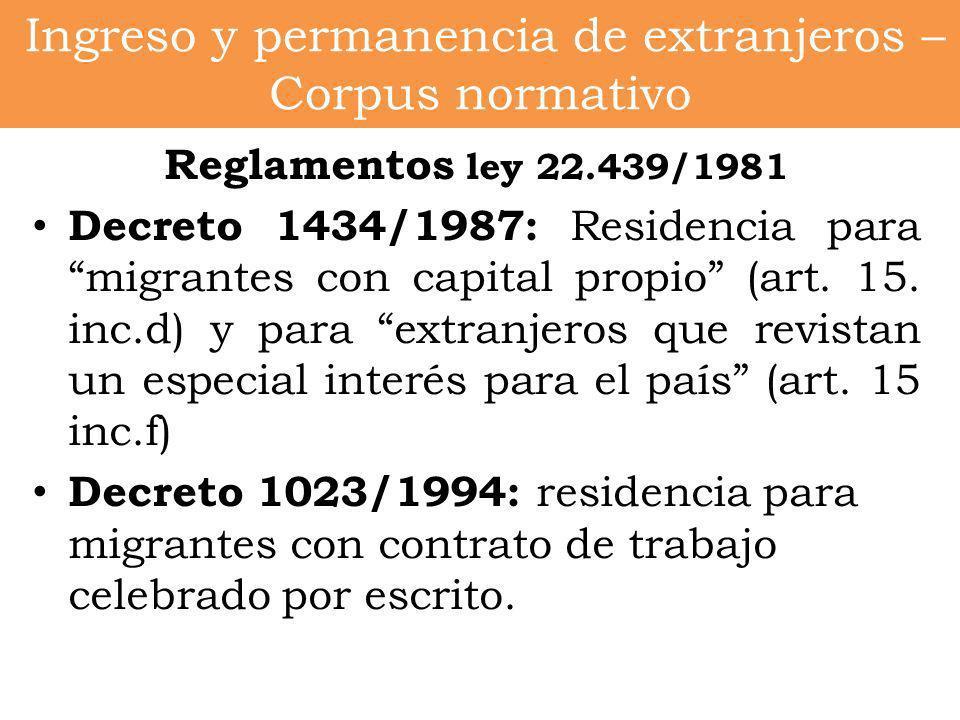 Ingreso y permanencia de extranjeros – Corpus normativo Reglamentos ley 22.439/1981 Decreto 1434/1987: Residencia para migrantes con capital propio (a