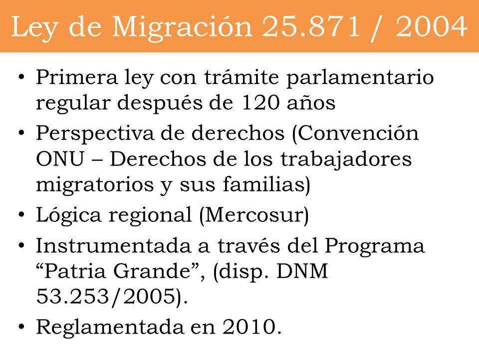Ley de Migración 25.871 / 2004 Primera ley con trámite parlamentario regular después de 120 años Perspectiva de derechos (Convención ONU – Derechos de