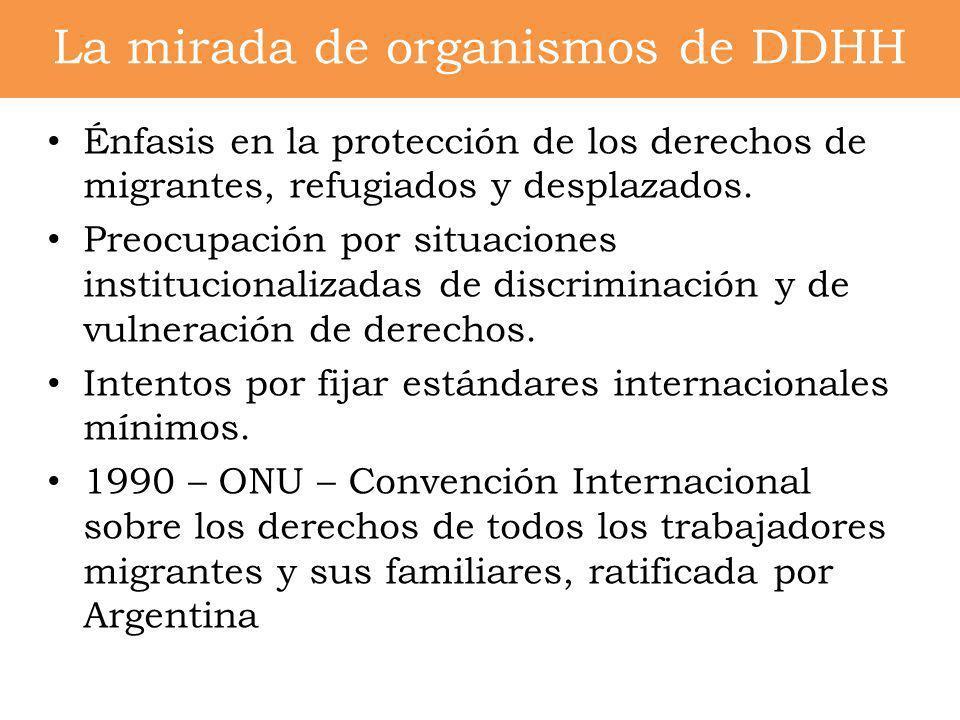 Énfasis en la protección de los derechos de migrantes, refugiados y desplazados. Preocupación por situaciones institucionalizadas de discriminación y
