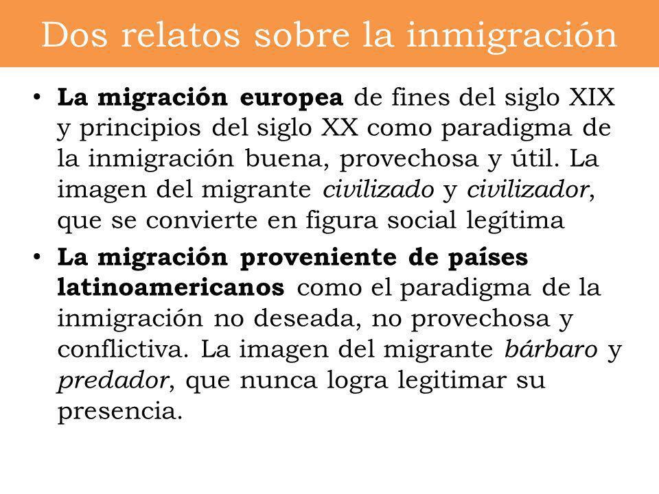 La migración europea de fines del siglo XIX y principios del siglo XX como paradigma de la inmigración buena, provechosa y útil. La imagen del migrant