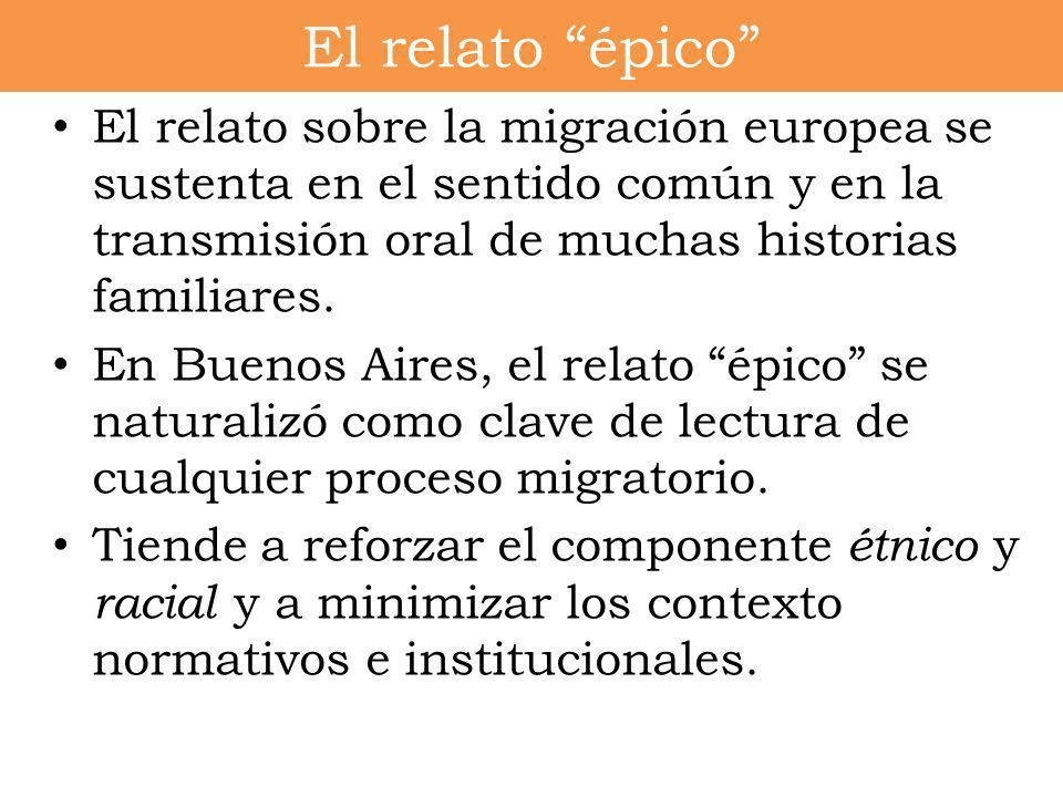 El relato sobre la migración europea se sustenta en el sentido común y en la transmisión oral de muchas historias familiares. En Buenos Aires, el rela