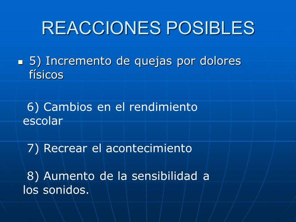 REACCIONES POSIBLES 5) Incremento de quejas por dolores físicos 5) Incremento de quejas por dolores físicos 6) Cambios en el rendimiento escolar 7) Re