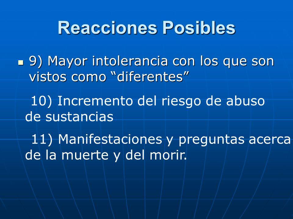 Reacciones Posibles 9) Mayor intolerancia con los que son vistos como diferentes 9) Mayor intolerancia con los que son vistos como diferentes 10) Incr