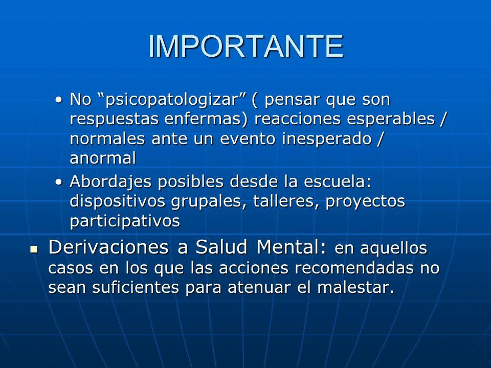 IMPORTANTE No psicopatologizar ( pensar que son respuestas enfermas) reacciones esperables / normales ante un evento inesperado / anormalNo psicopatol