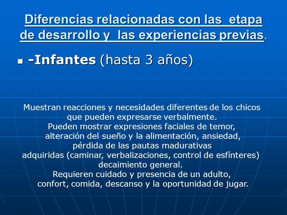 Diferencias relacionadas con las etapa de desarrollo y las experiencias previas. -Infantes (hasta 3 años) -Infantes (hasta 3 años) Muestran reacciones