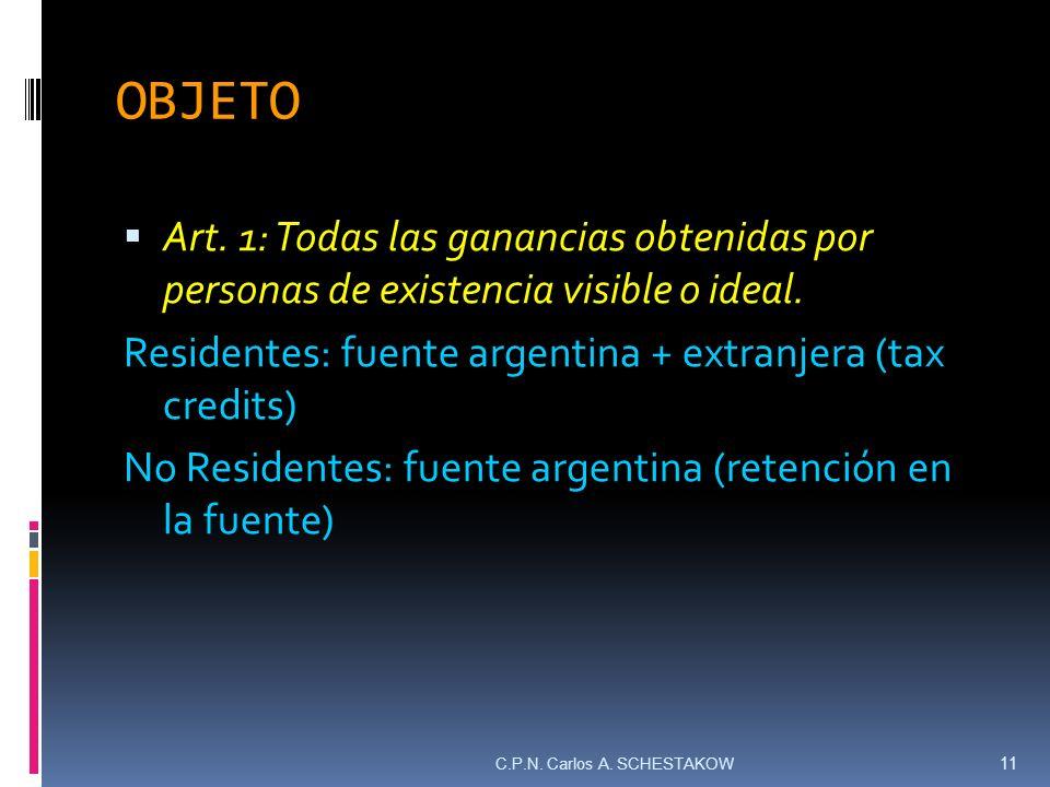 OBJETO Art. 1: Todas las ganancias obtenidas por personas de existencia visible o ideal. Residentes: fuente argentina + extranjera (tax credits) No Re