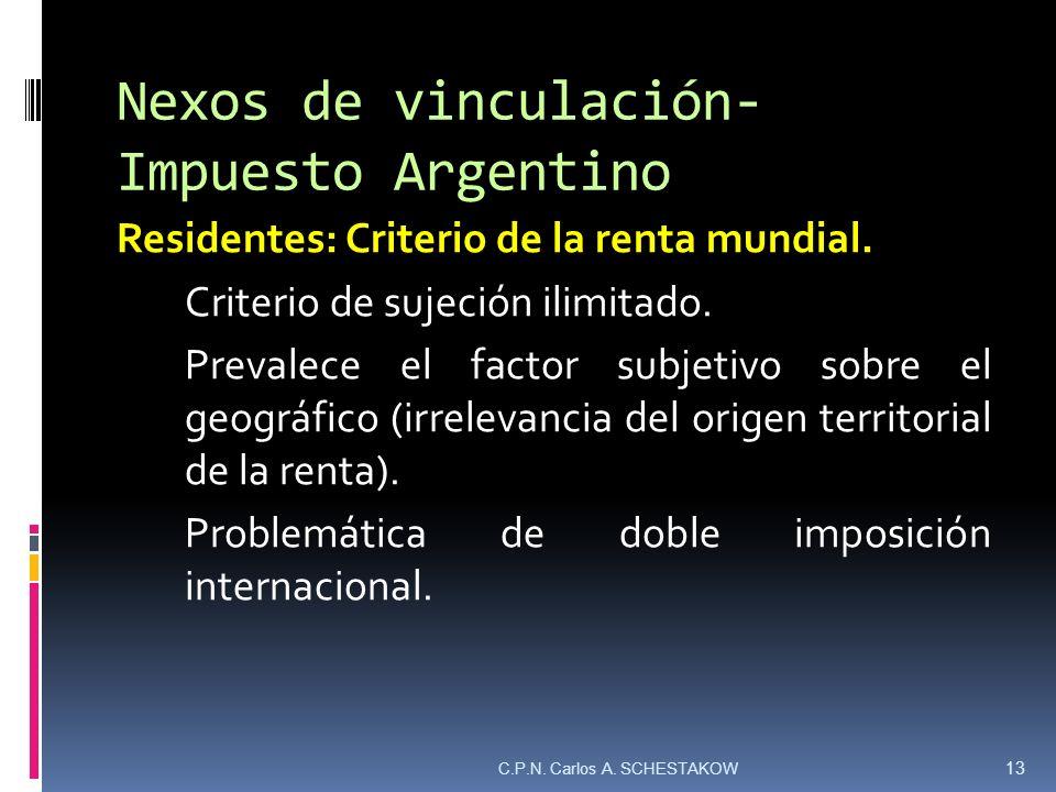 Nexos de vinculación- Impuesto Argentino Residentes: Criterio de la renta mundial. Criterio de sujeción ilimitado. Prevalece el factor subjetivo sobre