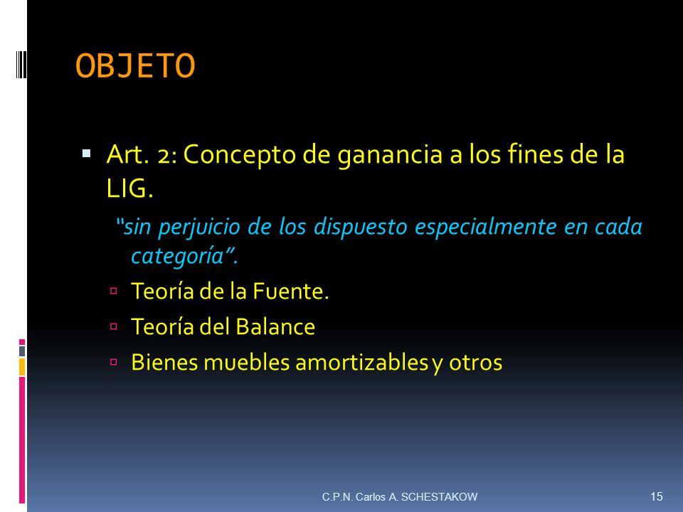 OBJETO Art. 2: Concepto de ganancia a los fines de la LIG. sin perjuicio de los dispuesto especialmente en cada categoría. Teoría de la Fuente. Teoría