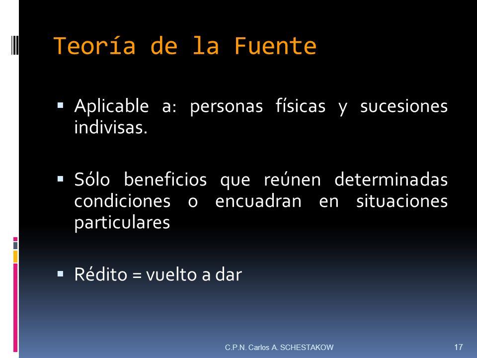 Teoría de la Fuente Aplicable a: personas físicas y sucesiones indivisas. Sólo beneficios que reúnen determinadas condiciones o encuadran en situacion