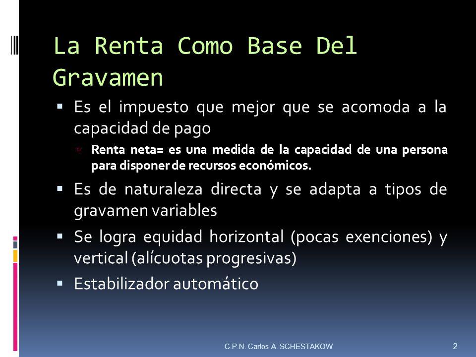 La Renta Como Base Del Gravamen Es el impuesto que mejor que se acomoda a la capacidad de pago Renta neta= es una medida de la capacidad de una person