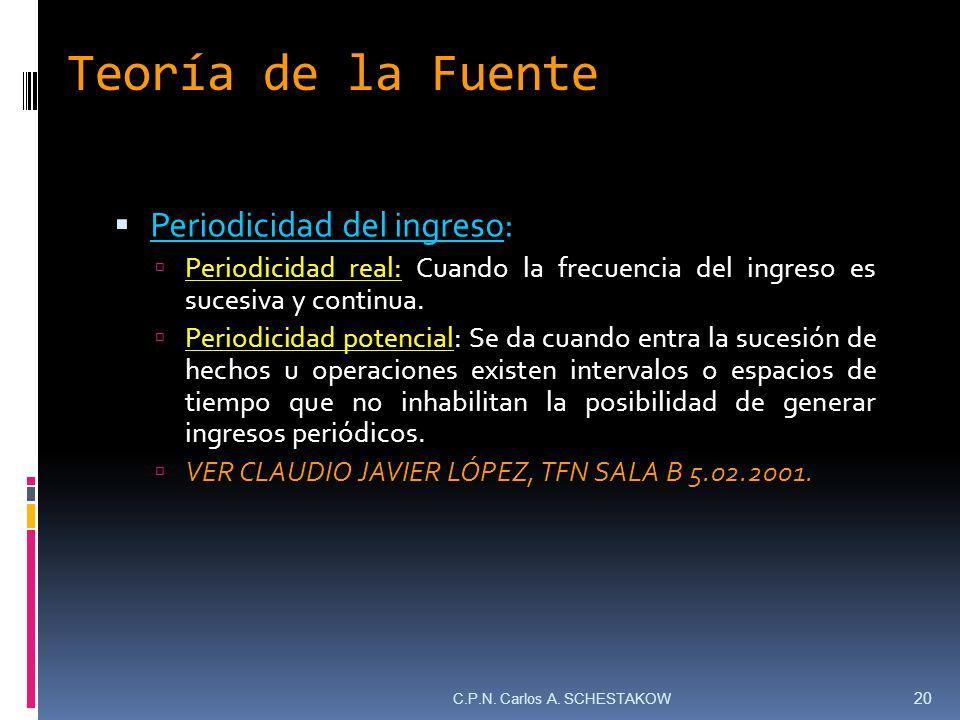 Teoría de la Fuente Periodicidad del ingreso: Periodicidad real: Cuando la frecuencia del ingreso es sucesiva y continua. Periodicidad potencial: Se d