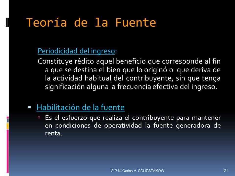 Teoría de la Fuente Periodicidad del ingreso: Constituye rédito aquel beneficio que corresponde al fin a que se destina el bien que lo originó o que d