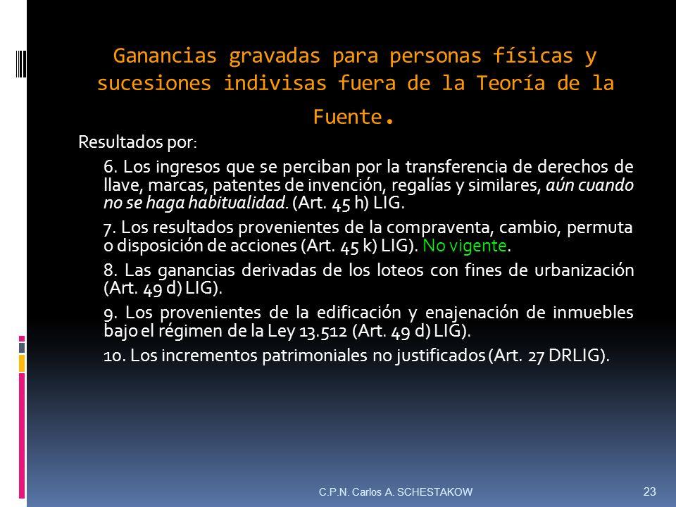 Ganancias gravadas para personas físicas y sucesiones indivisas fuera de la Teoría de la Fuente. Resultados por: 6. Los ingresos que se perciban por l