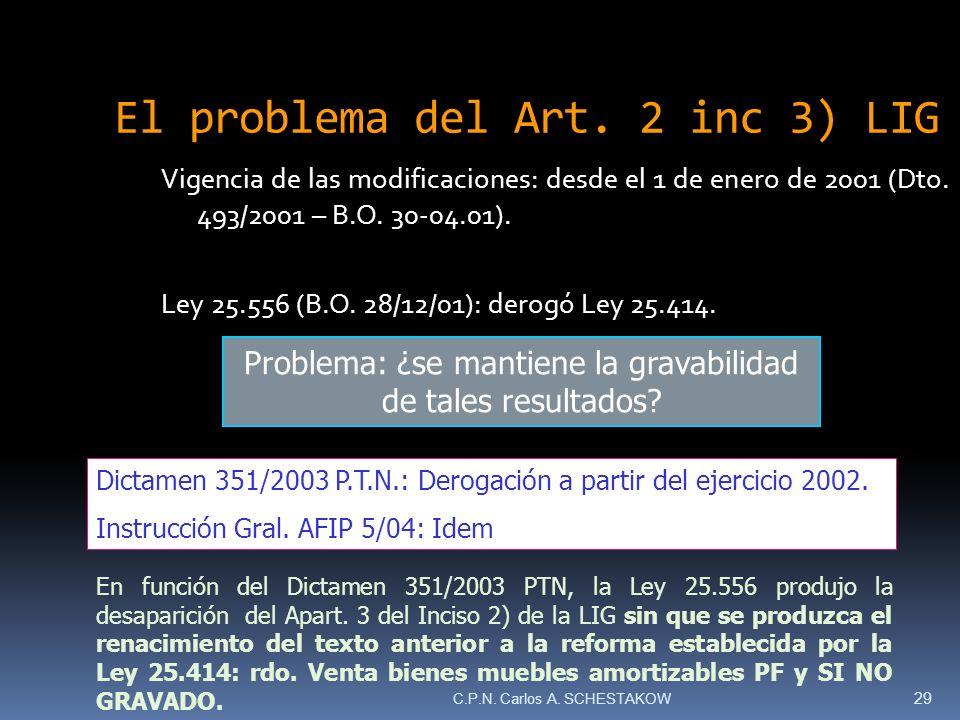 Vigencia de las modificaciones: desde el 1 de enero de 2001 (Dto. 493/2001 – B.O. 30-04.01). Ley 25.556 (B.O. 28/12/01): derogó Ley 25.414. El problem