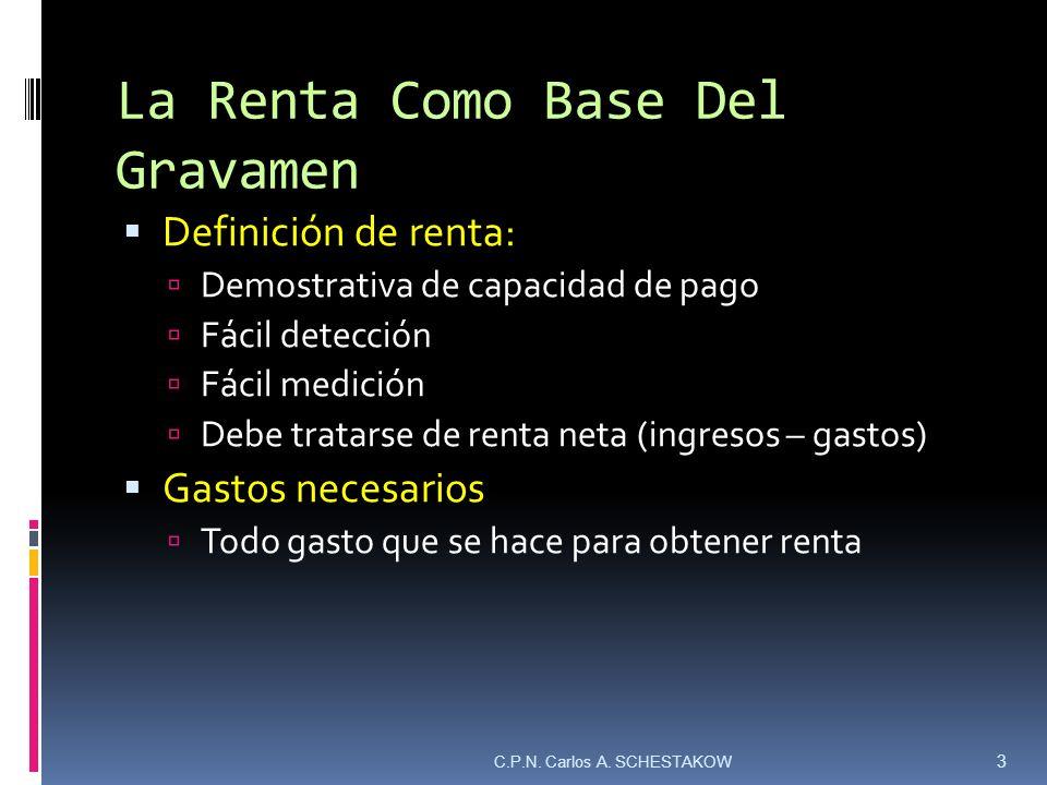 La Renta Como Base Del Gravamen Definición de renta: Demostrativa de capacidad de pago Fácil detección Fácil medición Debe tratarse de renta neta (ing