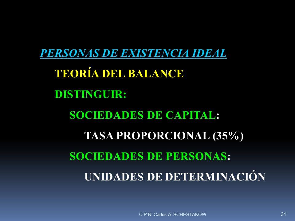 PERSONAS DE EXISTENCIA IDEAL TEORÍA DEL BALANCE DISTINGUIR: SOCIEDADES DE CAPITAL: TASA PROPORCIONAL (35%) SOCIEDADES DE PERSONAS: UNIDADES DE DETERMI