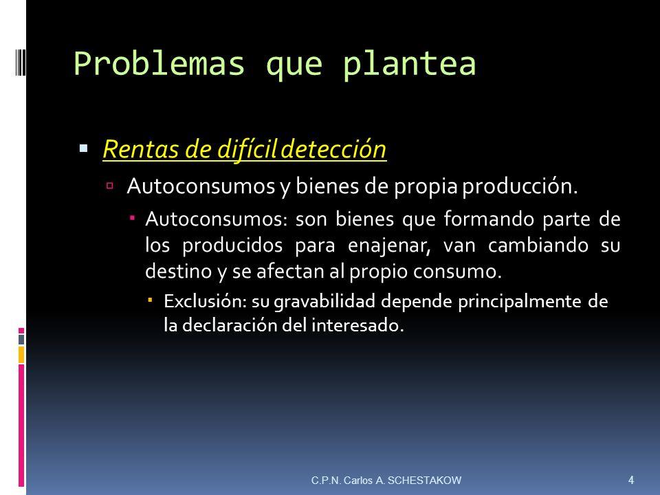 Problemas que plantea Rentas de difícil detección Bienes de propia producción: son bienes producidos y utilizados por quien no hace profesión de ello.