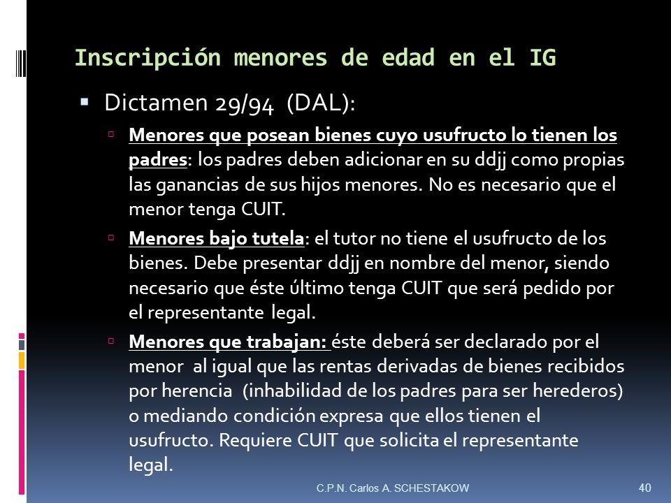 Inscripción menores de edad en el IG Dictamen 29/94 (DAL): Menores que posean bienes cuyo usufructo lo tienen los padres: los padres deben adicionar e