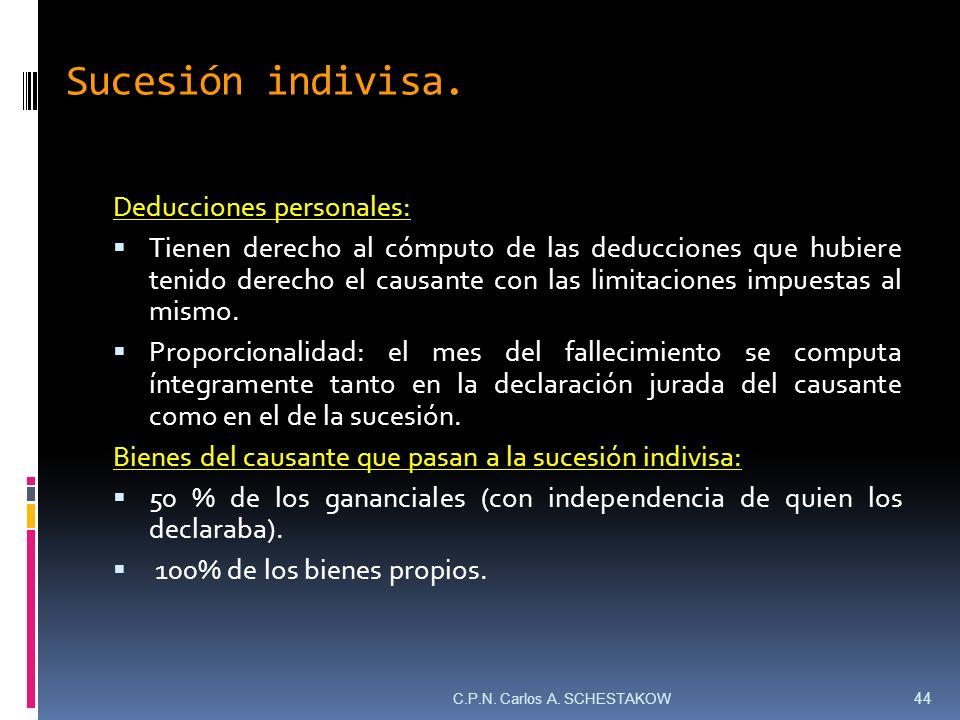 Sucesión indivisa. Deducciones personales: Tienen derecho al cómputo de las deducciones que hubiere tenido derecho el causante con las limitaciones im