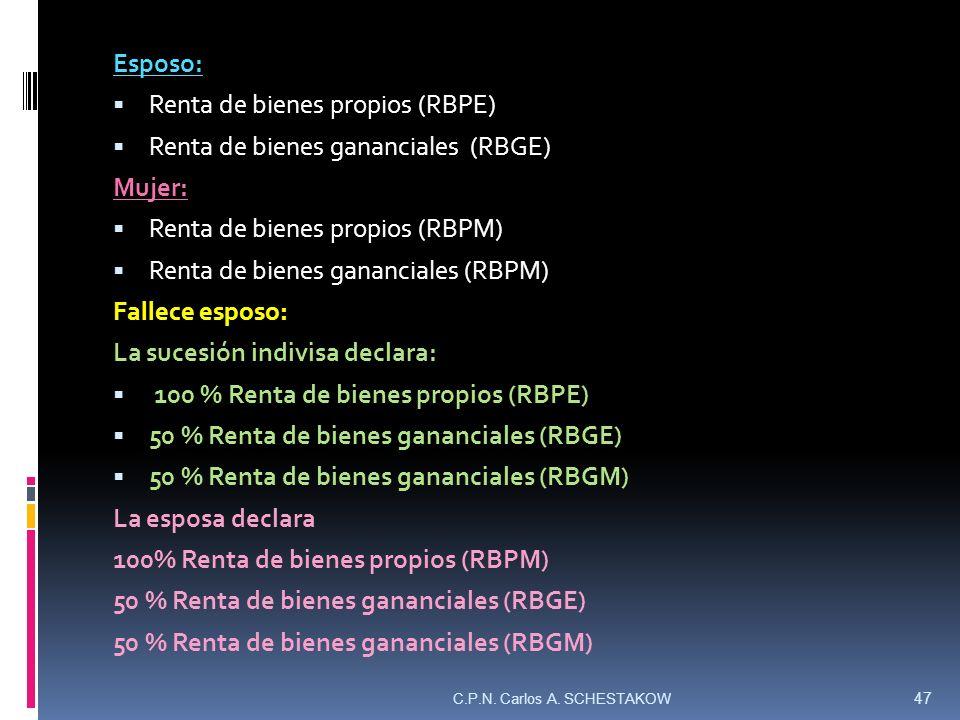 Esposo: Renta de bienes propios (RBPE) Renta de bienes gananciales (RBGE) Mujer: Renta de bienes propios (RBPM) Renta de bienes gananciales (RBPM) Fal