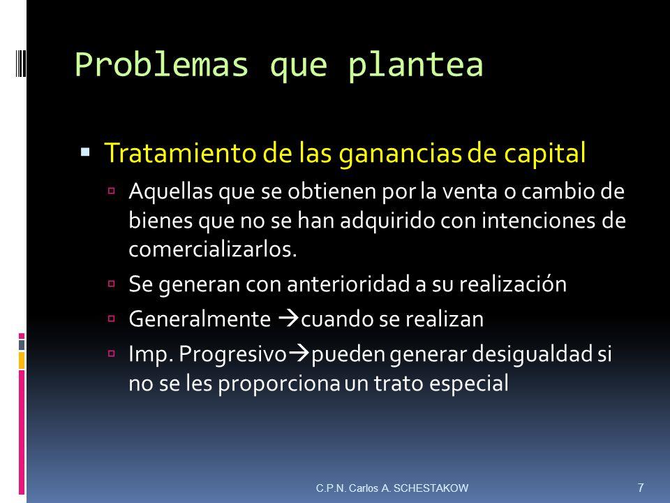 Problemas que plantea Tratamiento de las ganancias de capital Aquellas que se obtienen por la venta o cambio de bienes que no se han adquirido con int
