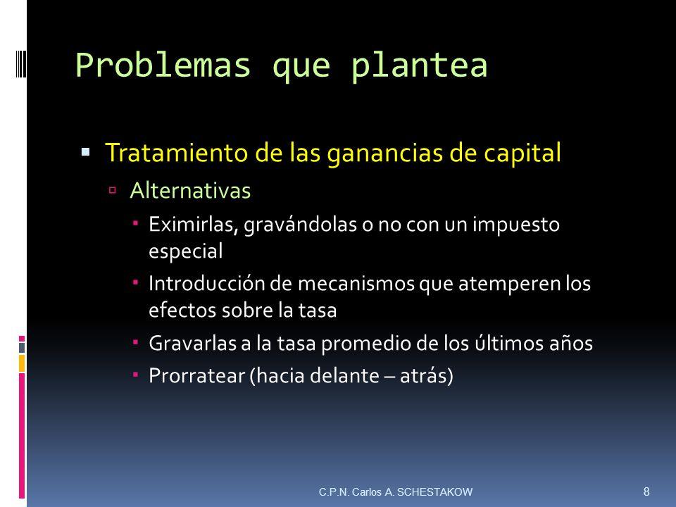 Problemas que plantea Tratamiento de las ganancias de capital Alternativas Eximirlas, gravándolas o no con un impuesto especial Introducción de mecani