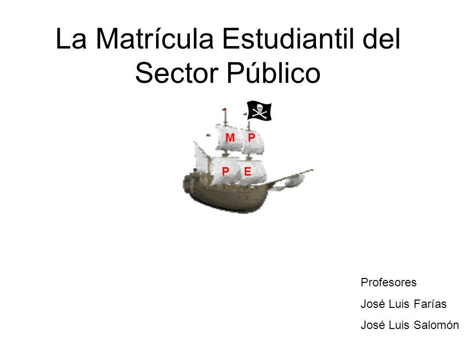 La Matrícula Estudiantil del Sector Público Mientras el Ministro se preocupa de MP PE Profesores José Luis Farías José Luis Salomón