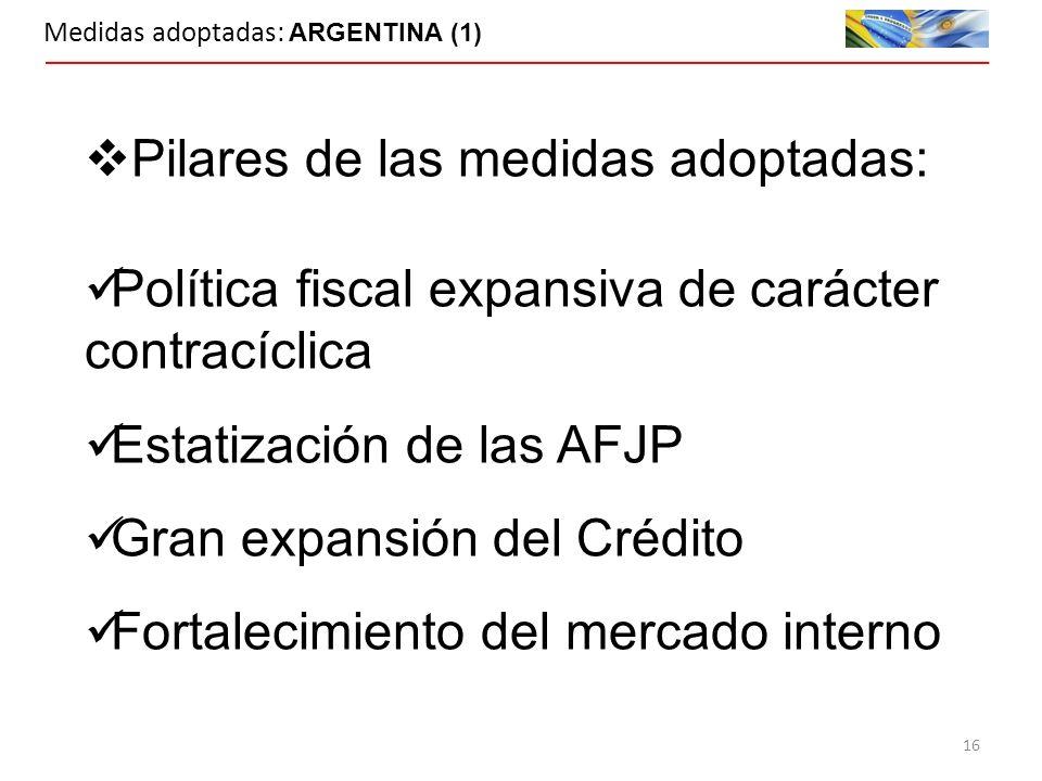 Medidas adoptadas: ARGENTINA (1) Pilares de las medidas adoptadas: Política fiscal expansiva de carácter contracíclica Estatización de las AFJP Gran expansión del Crédito Fortalecimiento del mercado interno 16