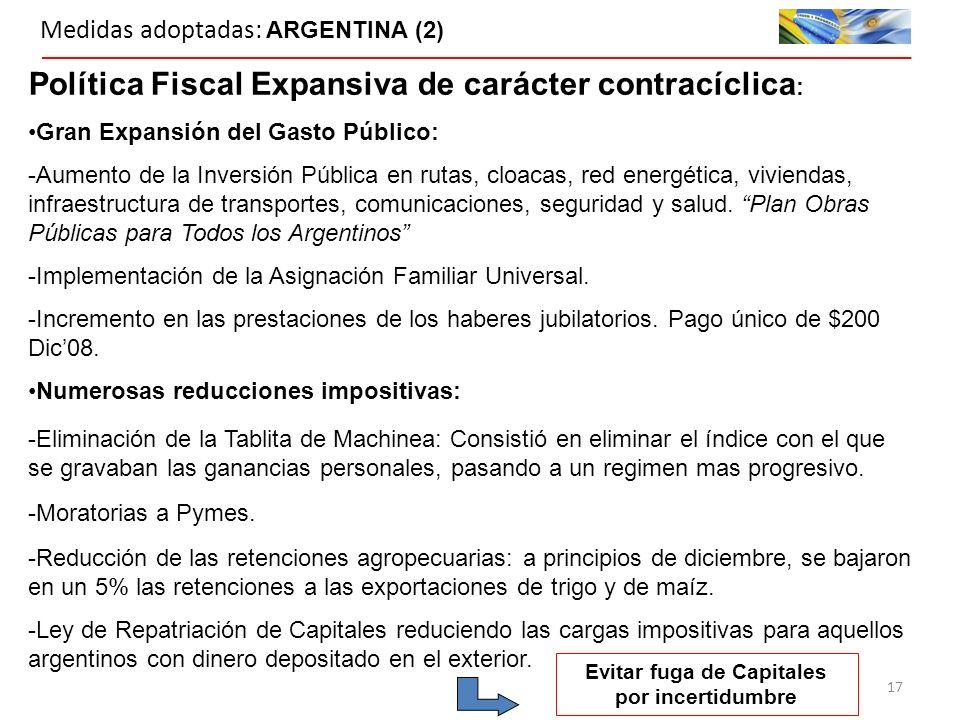 Medidas adoptadas: ARGENTINA (2) Política Fiscal Expansiva de carácter contracíclica : Gran Expansión del Gasto Público: -Aumento de la Inversión Pública en rutas, cloacas, red energética, viviendas, infraestructura de transportes, comunicaciones, seguridad y salud.