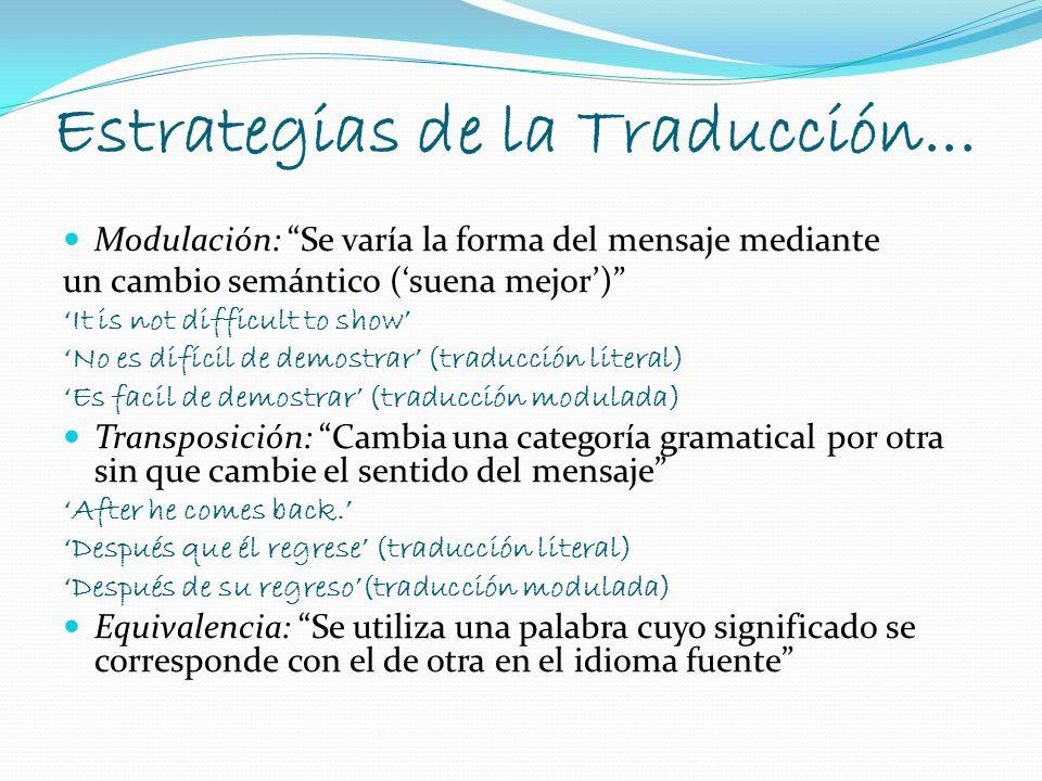 Estrategias de la Traducción... Modulación: Se varía la forma del mensaje mediante un cambio semántico (suena mejor) It is not difficult to show No es