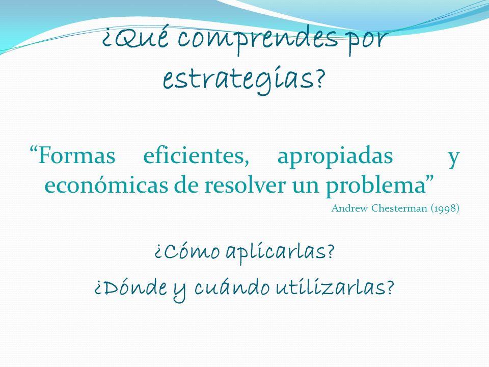 ¿Qué comprendes por estrategias? Formas eficientes, apropiadas y económicas de resolver un problema Andrew Chesterman (1998) ¿Cómo aplicarlas? ¿Dónde