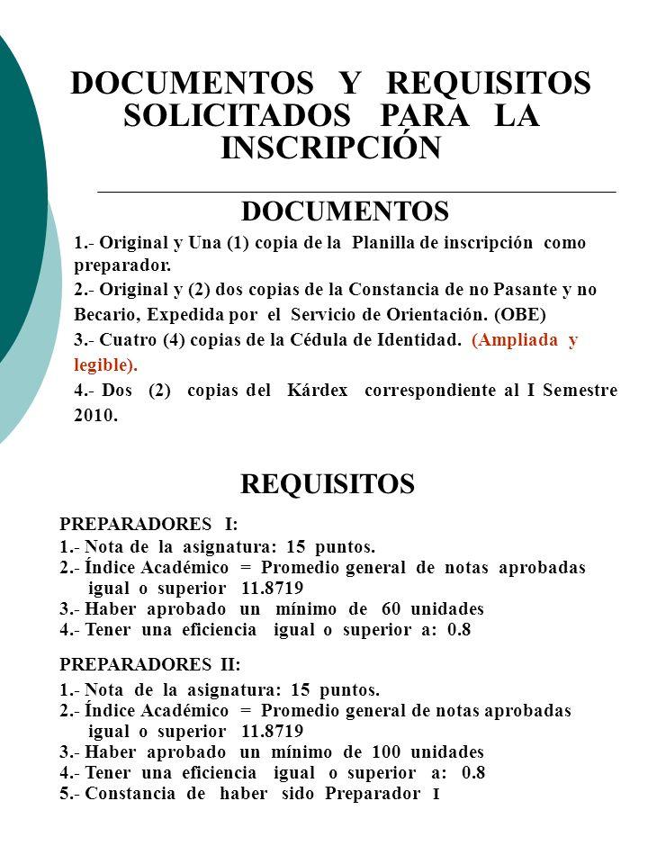 DOCUMENTOS 1.- Original y Una (1) copia de la Planilla de inscripción como preparador. 2.- Original y (2) dos copias de la Constancia de no Pasante y