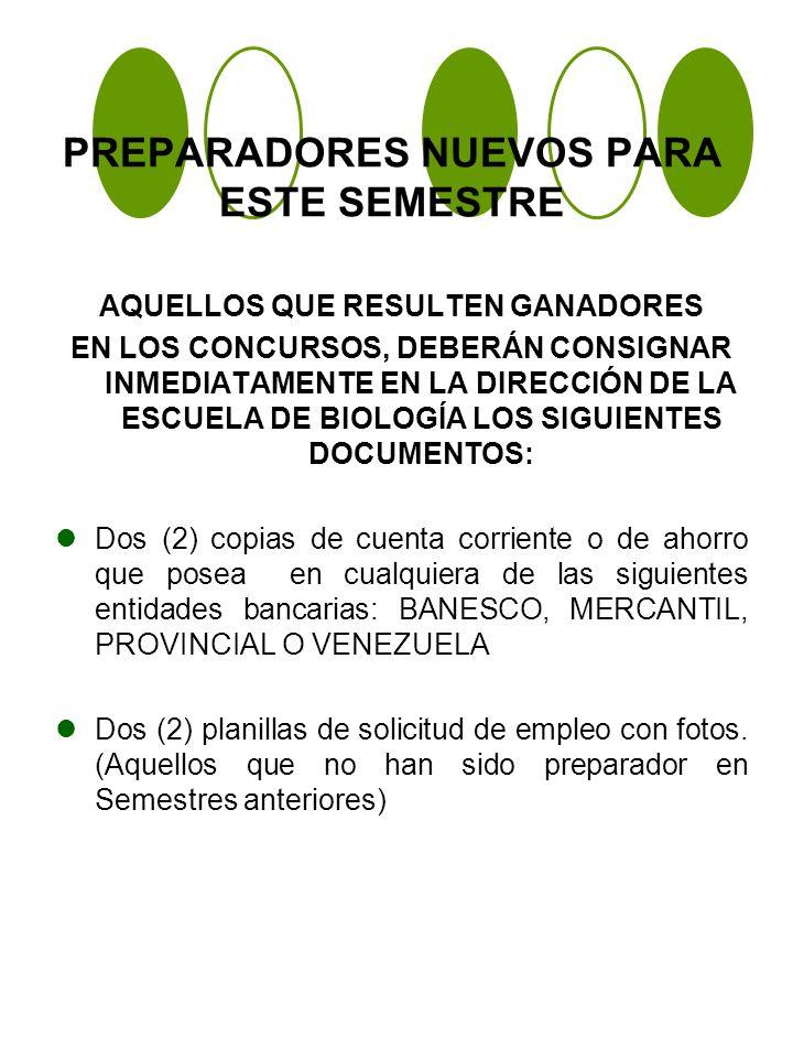 PREPARADORES NUEVOS PARA ESTE SEMESTRE AQUELLOS QUE RESULTEN GANADORES EN LOS CONCURSOS, DEBERÁN CONSIGNAR INMEDIATAMENTE EN LA DIRECCIÓN DE LA ESCUELA DE BIOLOGÍA LOS SIGUIENTES DOCUMENTOS: Dos (2) copias de cuenta corriente o de ahorro que posea en cualquiera de las siguientes entidades bancarias: BANESCO, MERCANTIL, PROVINCIAL O VENEZUELA Dos (2) planillas de solicitud de empleo con fotos.