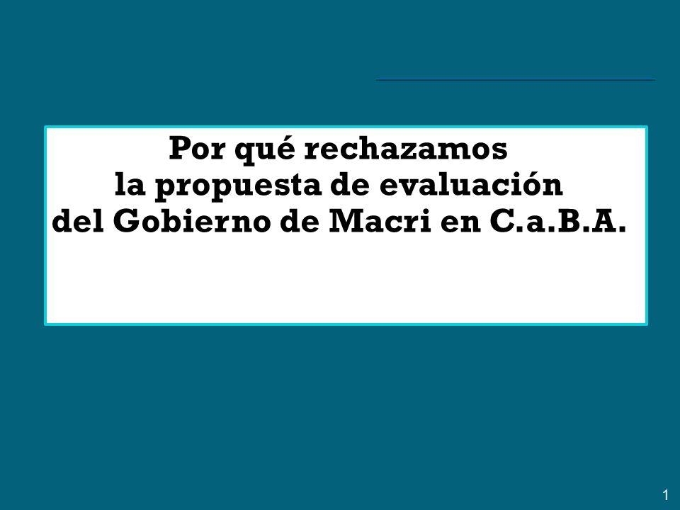 1 Por qué rechazamos la propuesta de evaluación del Gobierno de Macri en C.a.B.A.