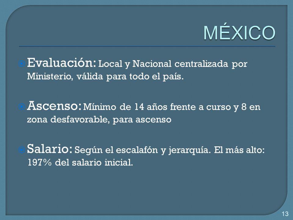 13 Evaluación: Local y Nacional centralizada por Ministerio, válida para todo el país.