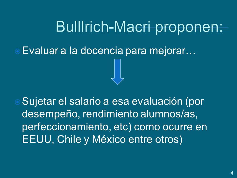4 Bulllrich-Macri proponen: Evaluar a la docencia para mejorar… Sujetar el salario a esa evaluación (por desempeño, rendimiento alumnos/as, perfeccionamiento, etc) como ocurre en EEUU, Chile y México entre otros)