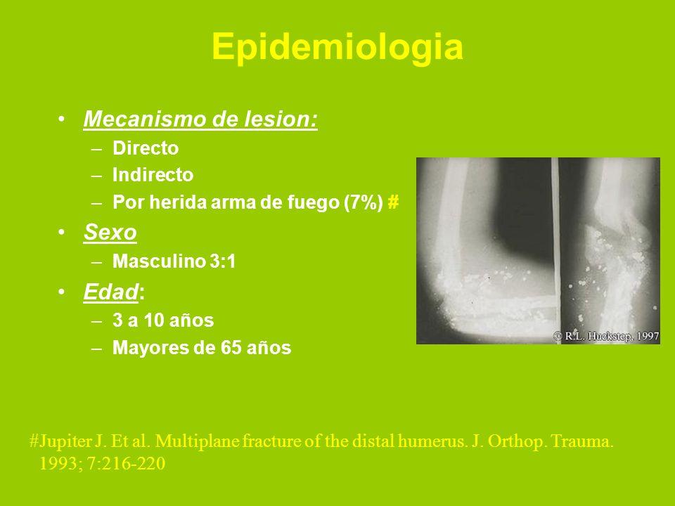 Epidemiologia Mecanismo de lesion: –Directo –Indirecto –Por herida arma de fuego (7%) # Sexo –Masculino 3:1 Edad: –3 a 10 años –Mayores de 65 años #Ju