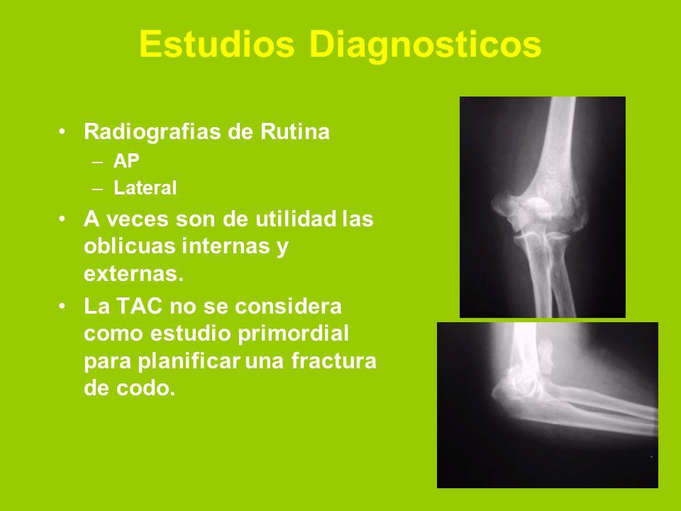 Estudios Diagnosticos Radiografias de Rutina –AP –Lateral A veces son de utilidad las oblicuas internas y externas. La TAC no se considera como estudi