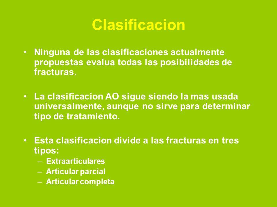 Clasificacion Ninguna de las clasificaciones actualmente propuestas evalua todas las posibilidades de fracturas. La clasificacion AO sigue siendo la m