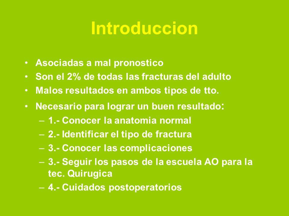 Introduccion Asociadas a mal pronostico Son el 2% de todas las fracturas del adulto Malos resultados en ambos tipos de tto.